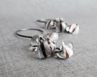 Brown White Stripe Earrings, Cluster Earrings White Brown, Lampwork Earrings, White Earrings, Brown Earrings, Oxidized Sterling Silver