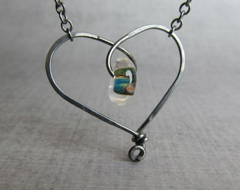Green Heart Necklace, Green Lampwork Bead, Whimsical Wire Heart, Oxidized Sterling Wire Necklace