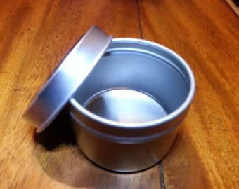 Lot of six *2 Oz Deep Metal Tins W/ Rolled Edge Covers