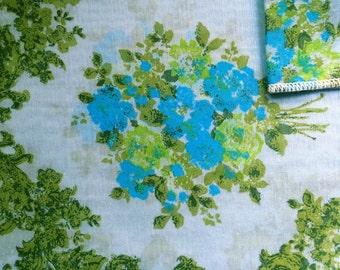 Vintage Fabrics 70's Cotton, Blue, Floral, Printed, Material, Textiles