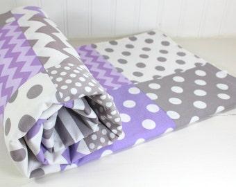 Baby Girl Blanket, Minky Blanket, Nursery Decor, Patchwork Blanket - Lavender Purple Plum and Gray Chevron