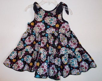 Folkloric Sugar Skulls Day of the Dead Twirly Sundress Boutique Dress cool cotton fabric Baby Infant Toddlers Girls Sizes