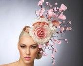 Pink Cherry Blossom Fascinator, Blush Headpiece, Cocktail hat , Spring Hat, Couture Hat, Derby Hat