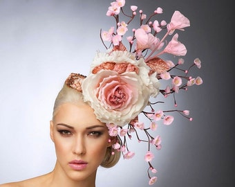 Pink Cherry Blossom Fascinator, Blush Headpiece, Cocktail hat , Spring Hat, Couture Hat, Derby Hat