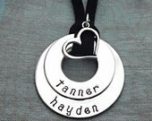 Family Blessings Double Pendant - Custom Hand Stamped Necklace Personalized With The Names of the Ones You Love Most