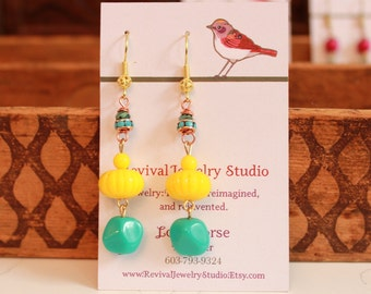 Fall Fun Earrings - Yellow and Turquoise - Bright Colors