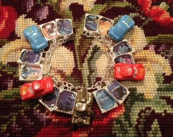 Disney/Pixar's Cars Altered Art Upcycled Charm Bracelet