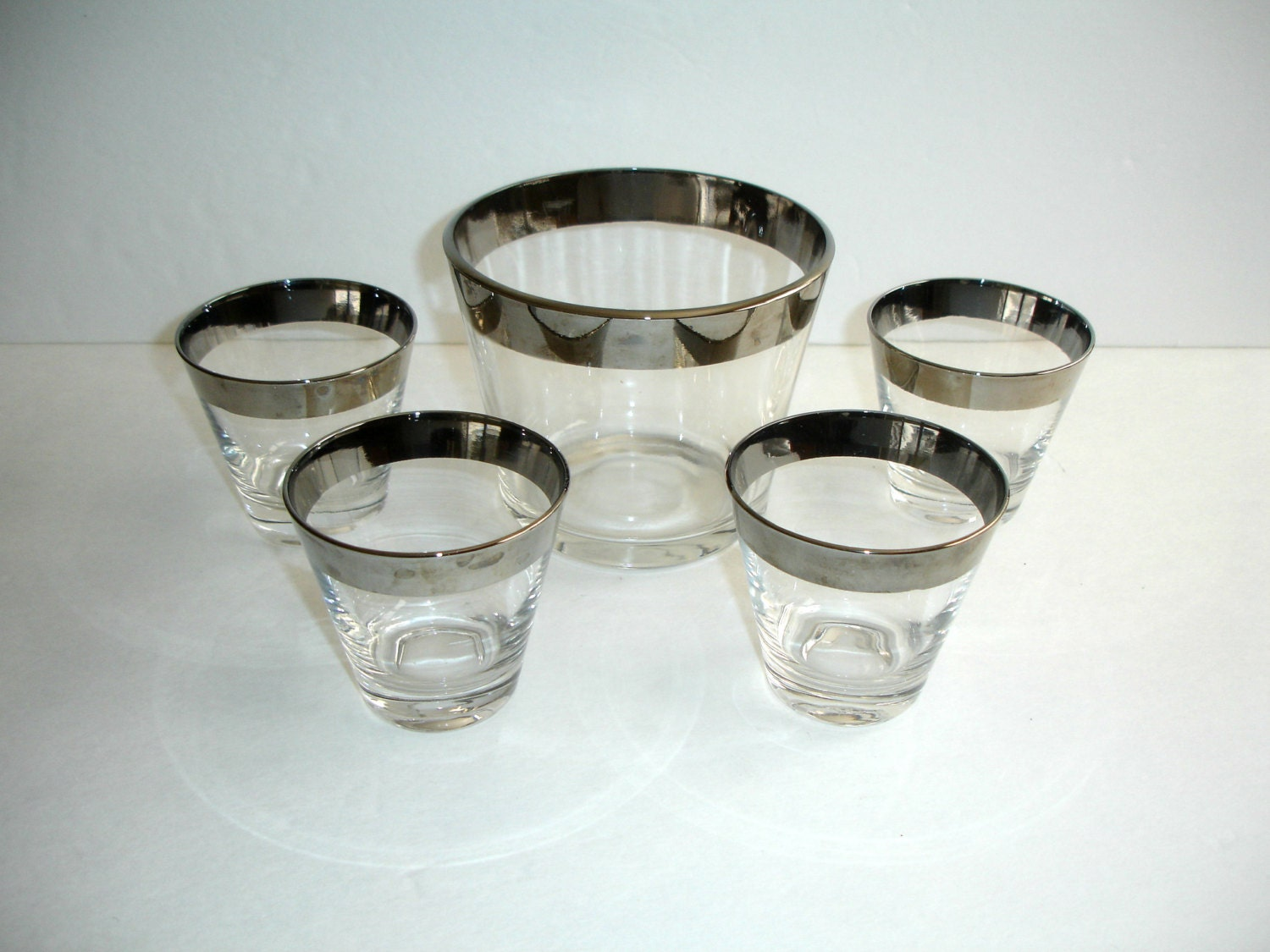 mid century modern barware set silver band ice by ballardsvintage