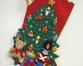 Bucilla Completed Felt UNDER THE TREE Christmas Stocking