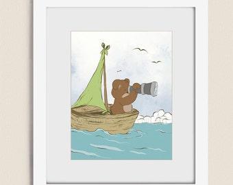 11 x 14 Teddy Bear Nursery Art Print, Cute Childrens Print, Baby Boys Room Decor, Artwork for Nursery Room Art (240)
