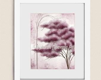 11 x 14 Pink Mauve Wall Decor House, Tree Wall Art for Bedroom , Living Room Decor, Pink Wall Art Tree Print, Art for House  (256)