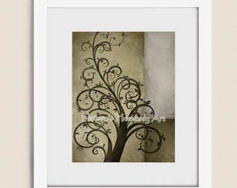 Whimsical Tree Wall Art 11 x 14 Print, Fantasy, Rustic Home Decor, Earthy Brown Green Gray (19)