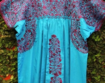 Turquoise and Royal Purple Mexican Wedding Dress