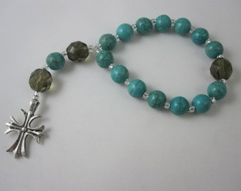 Turquoise jade and Smoky Quartz Fire-Polished Glass Chaplet