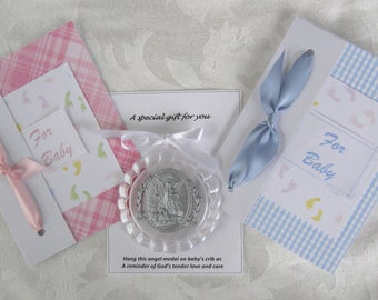 Baby Congratulations, Baby Shower Card with Angel Crib Medal