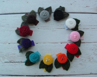 You Choose Lauren Felt Flower with Leaves Baby Snap Clip No Slip