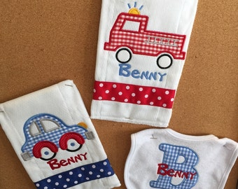 Personalized Car & Firetruck Bib And Burpcloth Set