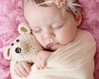 SALE Crochet 6.5 inch Teddy Bear Newborn Photo Prop or Gift Idea