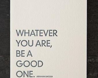 lincoln quote. letterpress card. #226