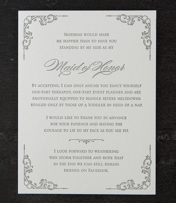 maid of honor. facebook. letterpress card. #427