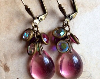 Vintage Brass Patina Lucious Pink Blush and Crystal Dangles Earrings