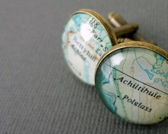 Bronze Cufflinks, Gift for Men, Real Vintage Map Cufflinks, Mens Valentine Gift
