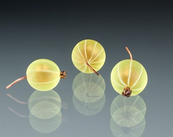 Green Gooseberry Glass Sculpture, over-ripe golden-yellow, life-sized hand blown glass art birthday gift, anniversary gift for cook, chef