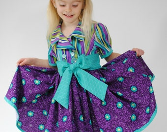 Girls Clothing, Childrens Clothing, Girls Dresses, Toddler Dress, Little Girls Dresses, Purple dress, blue, Size 2T - 10