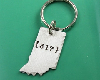 Indiana keyring - Indianapolis keychain - 317 area code - Indy gift - Indiana gift - graduation - naptown - Hoosiers - Indy pride