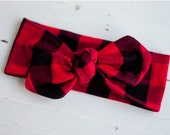 Baby Knot Headband, Baby Turban Headband, Baby Headwrap, Turban Headband, Toddler Knotted Headband, Top Knot - Black And Red Buffalo Plaid