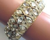 Vintage Rhinestone Cuff Bracelet Wedding Jewelry Bridal Bracelet