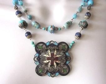 Repurposed Assemblage Beaded Necklace Art Nouveau Enamel Buckle Lapis Vintage Glass Beads