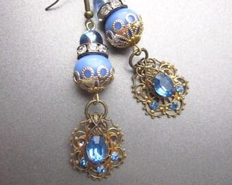 Blue Rhinestone Vintage Assemblage Earrings Dangle Earrings Downton Abbey Style