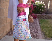 Cotton crochet tote crochet flower boho bohemian hot pink blue multicolor beach tote