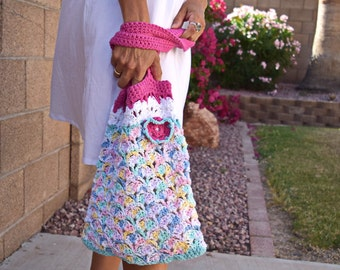Cotton crochet tote crochet flower boho bohemian hot pink blue multicolor beach tote