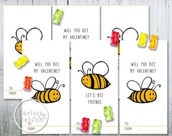 Bee Valentine Card Printable - Kids Friends 6 per page