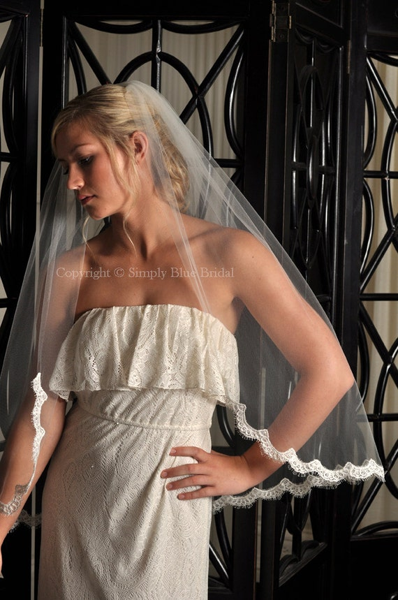 Lace Veil - Veil with Partial Alencon Lace Edge - White, Diamond White, Light Ivory, Ivory, Champagne, Blush