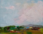 Farmland III - original landscape oil painting on  6x6 inch canvas by Judith Rhue