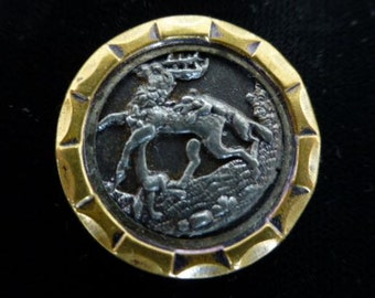Victorian Stag and Wolves Picture Antique Button