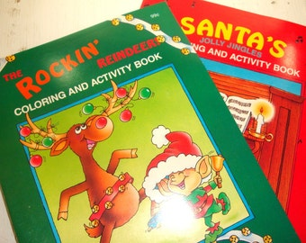 Coloring And Activity Books, Santa's Jolly Jingles, Rocking Reindeer, Christmas, Holiday, Children's Set of Two, Unused,
