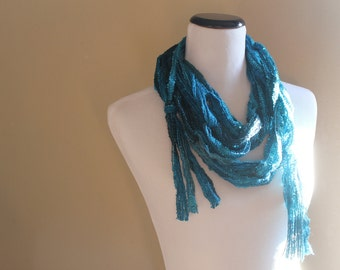 Palencia Teal Blue Ribbon Yarn Scarf - WInter 2014 Accessory - Hot Hot Holiday Skinny String Scarf with Sequins