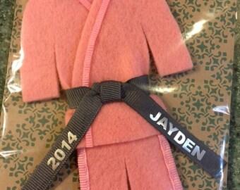 Pink Martial Arts Christmas Ornament- Personalized Uniform- CHOOSE Your Belt Color - Name / Year - TaeKwonDo Karate Jiu Jitsu Hapkido