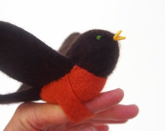robin, robin puppet, waldorf toy, all natural toy, eco friendly toy,