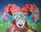 MarveLes IZAAK the Rocky Mountain Bloomin' Bighorn Sheep Western Wildlife Montana Glacier Park Floral Modern Wall Hanging Home Decor