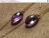 SPRING SALE 30% OFF Amethyst Marquis Modern 14kt Gold FIlled Chain Drop Earrings