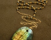 SPRING SALE 30% OFF Large Fiery Labradorite with Pyrite Rosary and14kt Gold Filled Chain Long Necklace