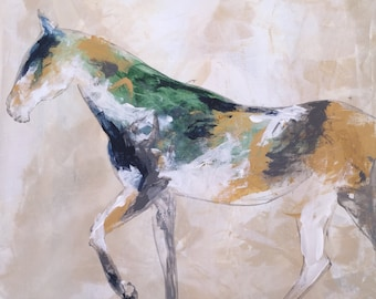 Standing Horse 7 - Large 20x20 inches Original Acrylic Canvas Painting, Abstract