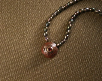 Dark pearl statement necklace with Copper spiral pendant made in Israel