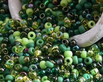Green Mix 11/0 TOHO Glass Seed Beads 10-Grams