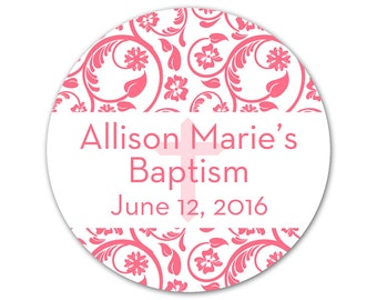 Personalized Baby Baptism Stickers - Custom Labels - Baptism Labels - Damask Stickers - Choose Your Colors - Boy or Girl